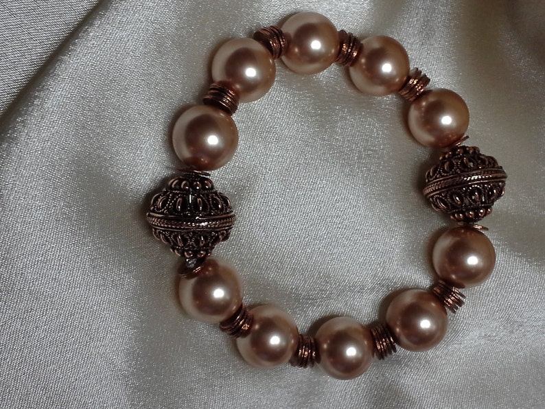 Swarovski Rose Gold Pearls with Copper Filigree Beads and image 0