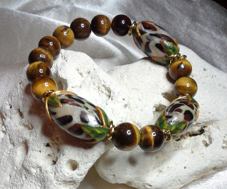 Natural Tiger Eye and Animal Print Beads with Twisted 14K Gold image 0
