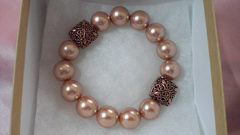Rose Gold Pearls with Copper Filigree Puffed Bead Statement image 0