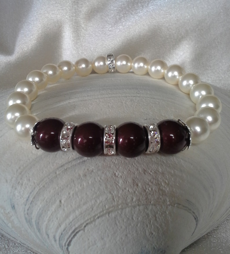 Maroon and White Pearl and Crystal Rondelle Stretch Bracelet image 0
