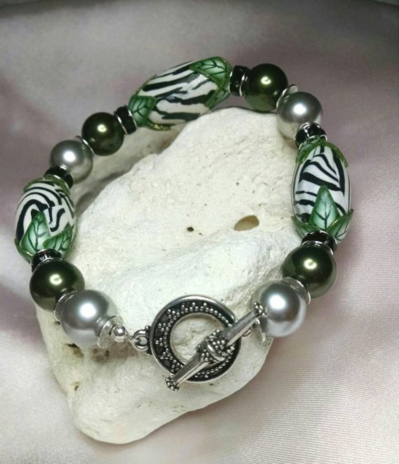 Animal Print and Pearls with Antiqued Silver Toggle Bracelet image 0