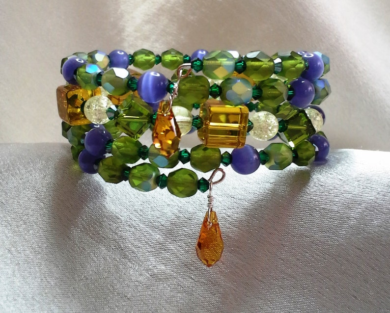 Wildflowers Crystal and Fire Polished Glass Beads 4x Wrap image 0