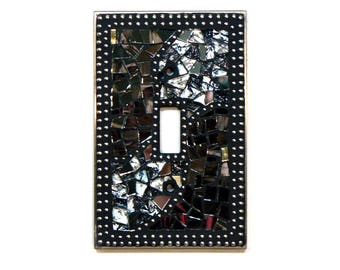 Mosaic Switch Plate - Light Switch Cover - Single Switch Plate - Gray Switch Plate - Silver Switch Plate - Light Cover