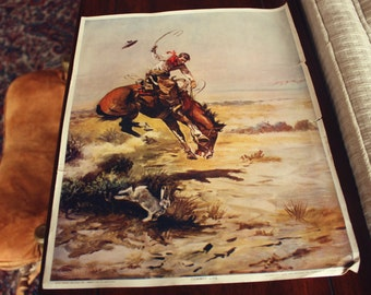 Vintage CM Russell Cowboy Life Print