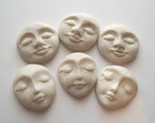 6 pc lot Plain Polymer Clay face Cabochon,faces,Flat back bead,1 1 16 quot ,handmade supply,Pearl White,focal bead,no hole,art bead