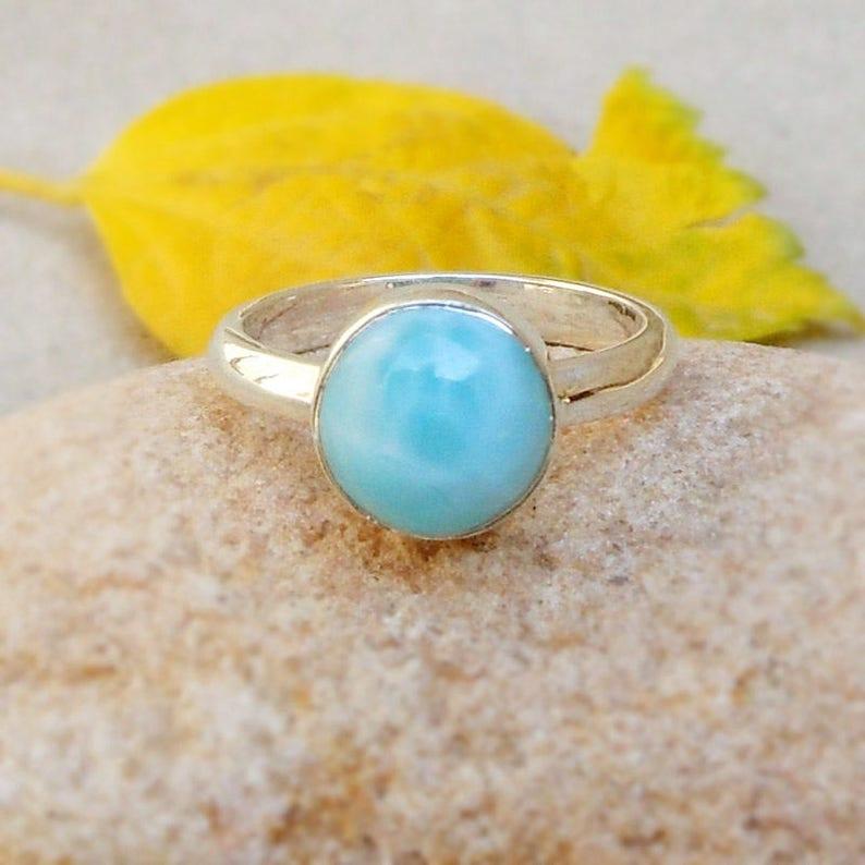 Natural Larimar Ring Dominican Republic Gemstone Sky Blue larimar Bezel Ring Boho Rings Minimalist Rings Sterling Silver Larimar Ring