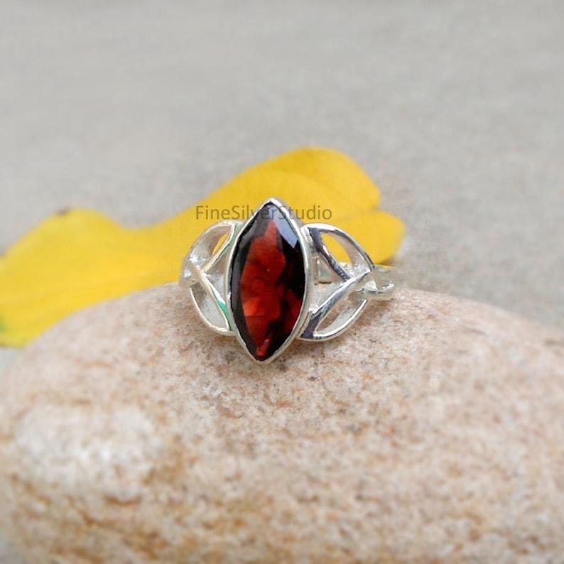 Natural Red Garnet Marquise Cut Ring Garnet celtic ring sterling silver Ring for women Celtic knot Ring Garnet Trinity Rings Garnet Ring