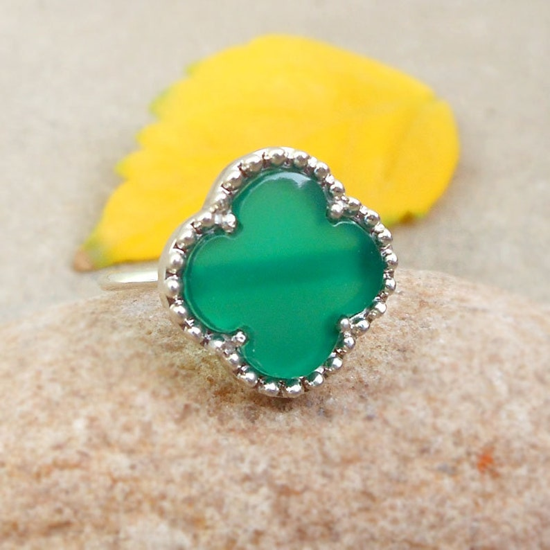 Natural Green Onyx Clover Ring Sterling Silver Onyx Jewelry Gemstone Rings Four leaf Silver Lucky Clover Ring ideas for her birthday gifts