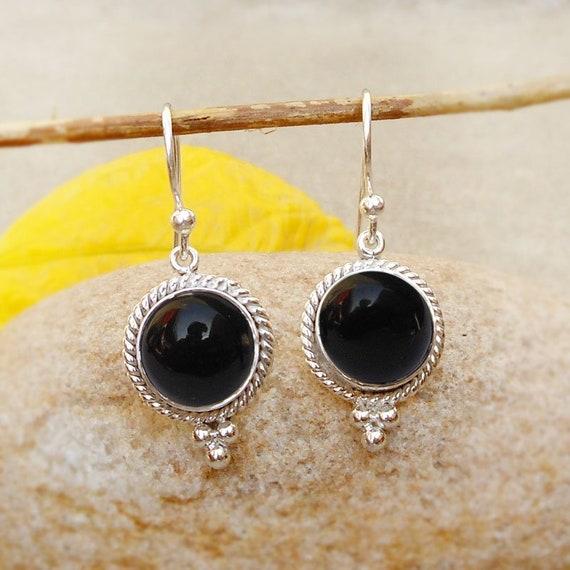 Holiday Gift Square Cut Black Onyx Gemstone Silver Woman Dangle Hook Earrings