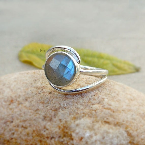 NATURAL BLUE LABRADORITE CHECKER CUT 925 SOLID STERLING SILVER RING