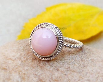 Pink Opal Twisted Band Natural Pink Opal Ring Opal Sterling Silver Ring Pink Opal Gemstone Ring, Birthstone Rings Opal Jewelry Gifts for her