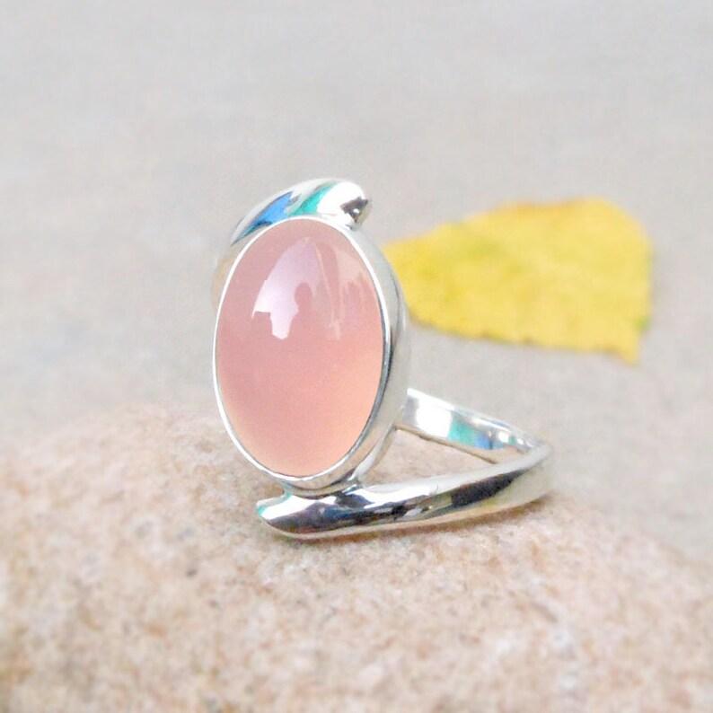 Indian Artisan Handmade Rose Quartz Gemstone Bezel Set Mothers Day Gift Ring