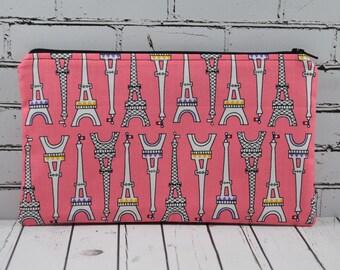 Eiffel Tower Pencil Case, Paris Themed Small Makeup Bag