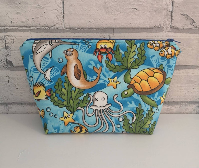 Kawaii Sea Creatures Makeup Bag, Cute Ocean Cosmetic Bag, Novelty Zip  Pouch, Seal, Dolphin, Turtle, Octopus