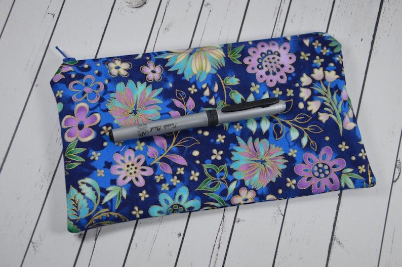 Purple Floral Pencil Case Flower Small Makeup Bag