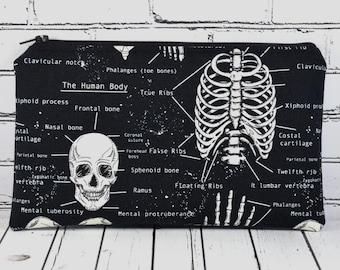 Glow in the Dark Skeleton Pencil Case, Skull Pencil Bag