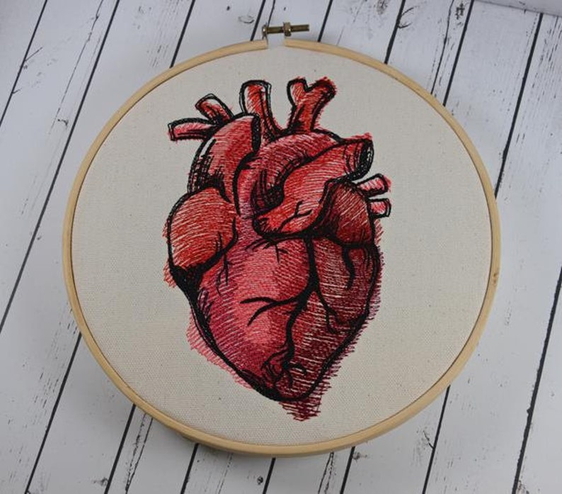 Anatomical Heart Embroidered Wall Art Valentine's Day image 0
