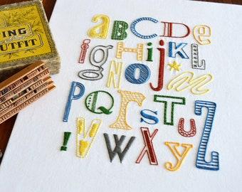 Letterpress hand embroidery pattern, modern embroidery, alphabet, lettering, embroidery patterns, embroidery PDF, PDF pattern