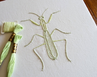 Anatomical Mantis hand embroidery pattern, modern embroidery, praying mantis, insect, PDF pattern, digital download