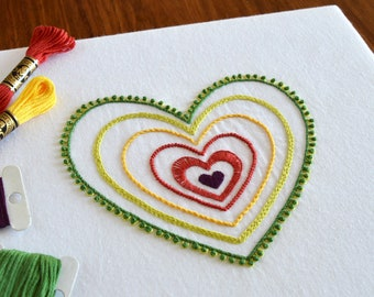 Radiant Heart hand embroidery pattern, modern embroidery, heart embroidery, Valentine's, embroidery patterns, embroidery PDF, PDF pattern