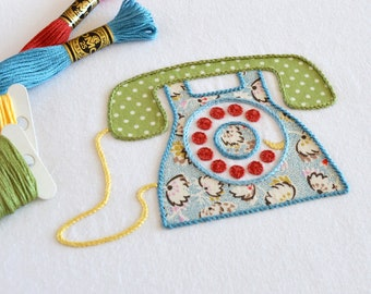 Ring Ring Telephone hand embroidery pattern, modern embroidery, appliqué pattern, vintage, retro, embroidery patterns, PDF pattern
