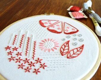 Mock Redwork hand embroidery pattern, modern embroidery, embroidery patterns, embroidery PDF, PDF pattern