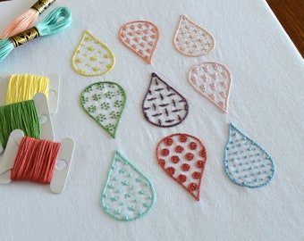 Summer Rain hand embroidery pattern, modern embroidery, embroidery sampler, embroidery patterns, embroidery PDF, PDF pattern