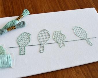Birds on a Wire hand embroidery pattern, modern embroidery, bird embroidery patterns, embroidery PDF, PDF pattern