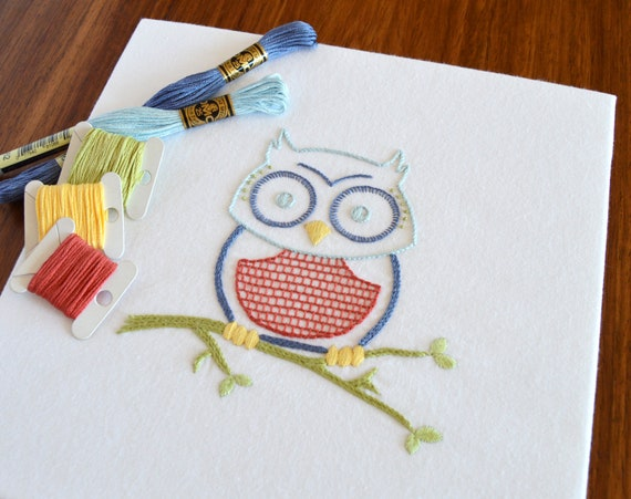 Owlish Hand Embroidery Pattern Modern Embroidery Bird Etsy