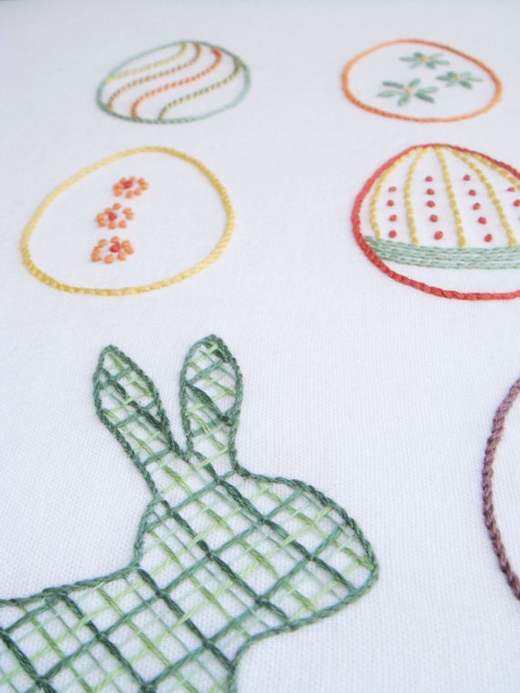 Easter Egg Hunt Hand Embroidery Pattern Modern Embroidery Etsy