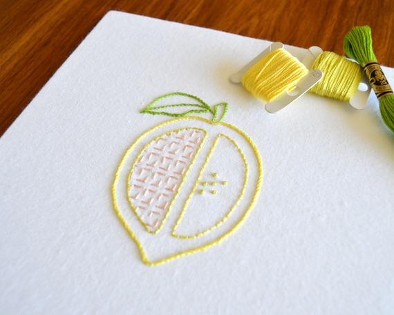 Lemon Split Hand Embroidery Pattern Modern Embroidery Fruit Etsy