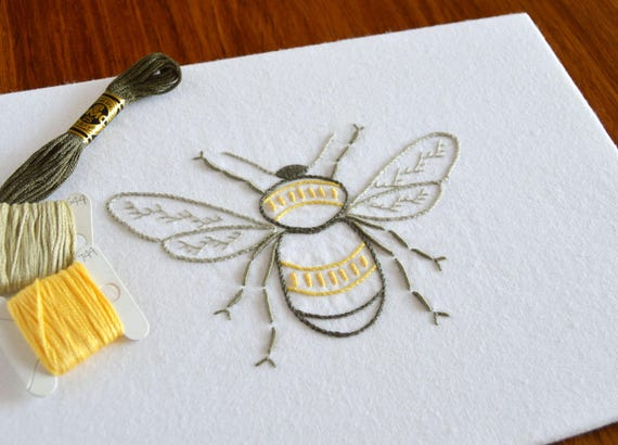 Anatomical Bee Hand Embroidery Pattern Modern Embroidery Etsy