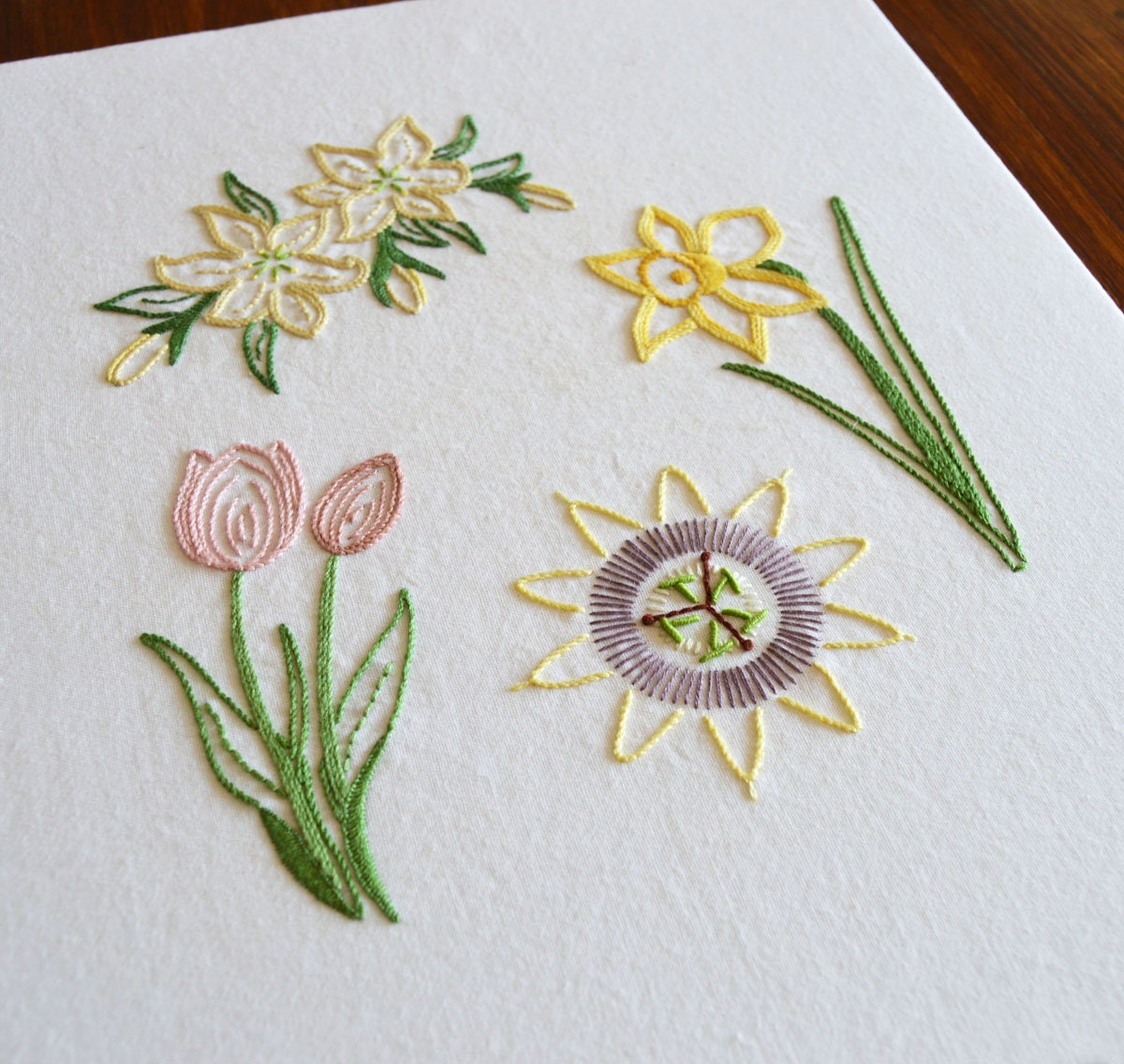 Easter Flowers hand embroidery pattern, a modern embroidery pattern PDF for  a lily, tulip, daffodil and passion flower