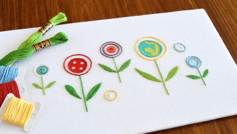 Wildflowers hand embroidery pattern modern embroidery etsy