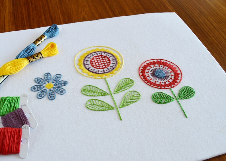 PDF pattern embroidery PDF modern embroidery embroidery patterns floral embroidery Scandi Flowers hand embroidery pattern