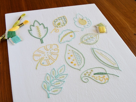 Mod Foliage Hand Embroidery Pattern Modern Embroidery Etsy