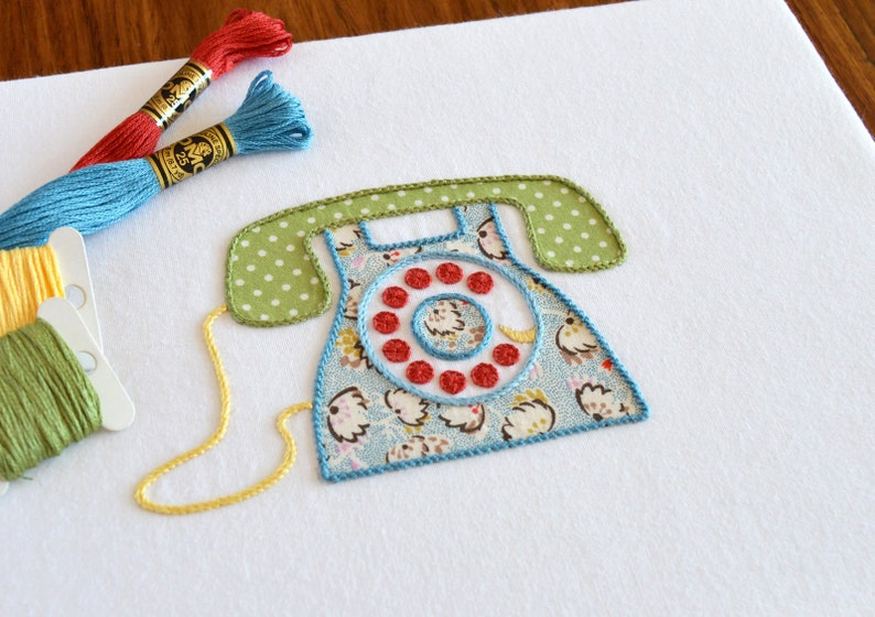Ring ring telephone hand embroidery pattern modern etsy