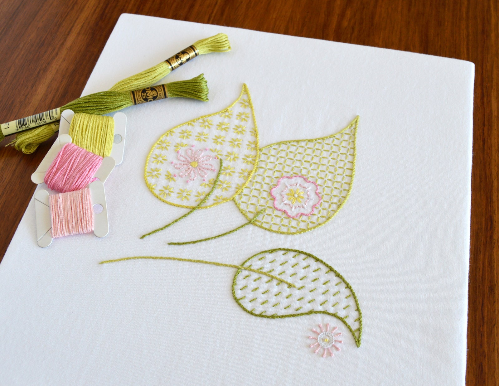Leaves Blow Hand Embroidery Pattern Modern Embroidery Leaf Etsy