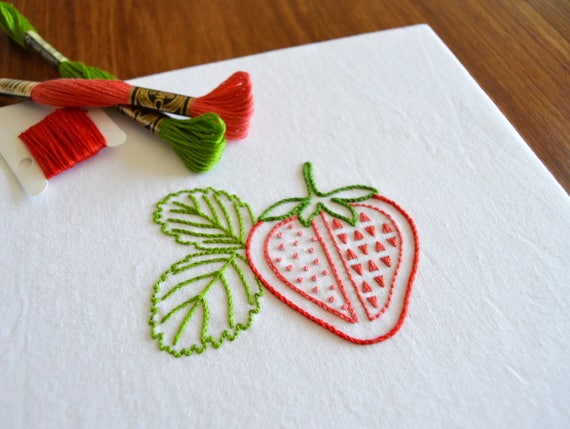 Strawberry Slash Hand Embroidery Pattern Modern Embroidery Etsy
