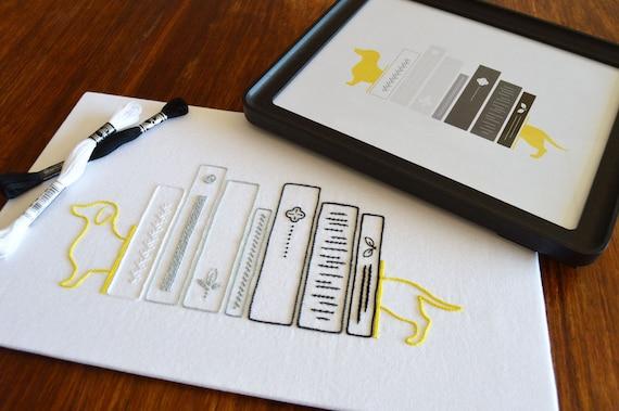 Bookshelf Hand Embroidery Pattern Free Printable Modern Etsy