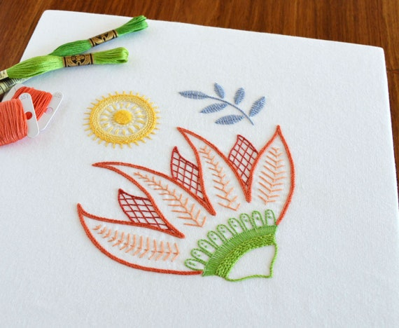 Burnesque Hand Embroidery Pattern Modern Embroidery Crewel Etsy