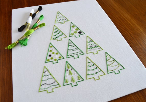 Tree Stack Hand Embroidery Pattern Printable Gift Tags Modern Embroidery Christmas Tree Embroidery Patterns Pdf Pattern