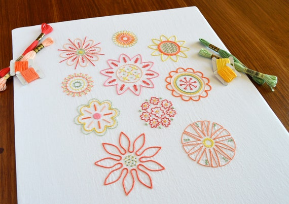Full Blooms Hand Embroidery Pattern Modern Embroidery Flower Etsy