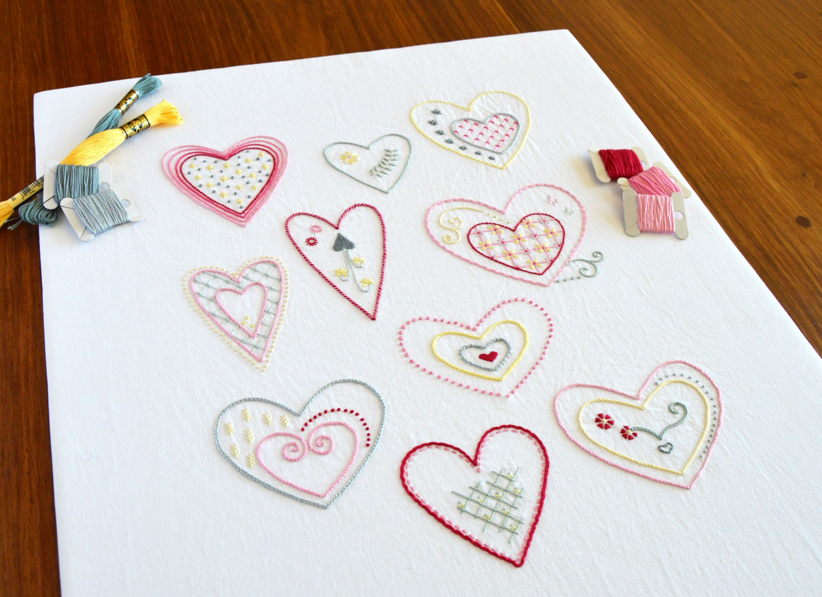 Sweet Hearts Hand Embroidery Pattern Modern Embroidery Heart Etsy