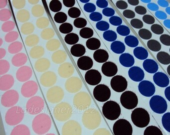 Colorful Stickers 20mm Dia Coin/Dot  Hook and Loop Self-Adhesive Craft Supplies