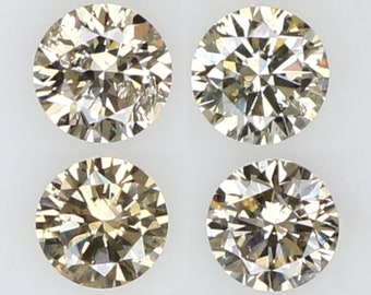 Natural Loose Diamond Round Brown Color I1 Clarity 4 Pcs 0.28 Ct L4166