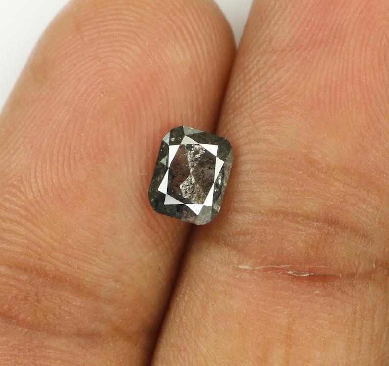 0.86 Ct Natural Loose Diamond Cushion Black Grey Salt And Pepper Color 5.93 MM KDL7859