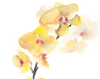 Yellow orchids Original Watercolor Painting, painting of flowers, minimalist botanical painting art