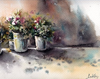 Flowers Market ORIGINAL Watercolor Painting, Lights and Shadows Modern Watercolor painting art