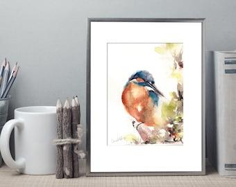 Kingfisher bird ORIGINAL Watercolor Painting, bird art, Kingfisher Painting, Watercolor painting of bird